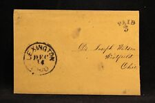 Ohio: Lexington 1850s Stampless Cover, Black CDS, PAID 3 in Arc, Richland Co