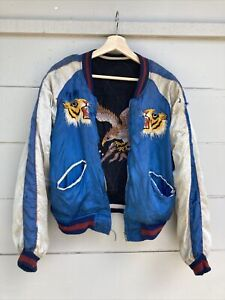 True Vintage Japanese Sukajan Souvenir Reversible Satin Jacket Bomber Worn 50s