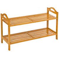 Estantería zapatero de madera bambú para calzado armario zapatos 2 estantes NUEV