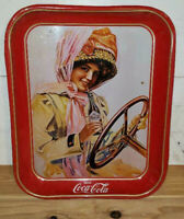 Vintage Coke / Coca Cola Red Serving Tray Girl Driving Car with Coke Bottle USA