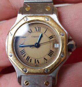 Montre bracelet Cartier Santos Octagon Ladies acier et or 18k
