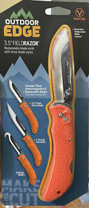 "NEW💫Outdoor Edge 3.5"".FieldRazor Orange Replaceable Blade Folding Knife"