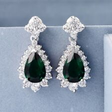Unique Charms Women Green Emerald&Sapphire Crystal Silver Dangle Drop Earrings