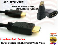 25FT 1.4 Gold Plated 10.2 gbps / 340 MHz HDMI Cable + HDMI to Mini HDMI F/M Adap