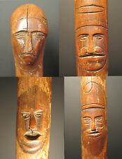 ANTIQUE AMERICAN FOLK ART CANE 1881 SPRINGFIELD IL OH? 10 FACES CAT DOG CARVINGS