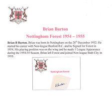 BRIAN BURTON NOTTINGHAM FOREST 1954-1955 VERY RARE ORIG HAND SIGNED CUTTING/CARD