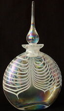 Vintage Perfume Bottle Iridescent Pulled Feather Art Glass w/Stopper Unsigned