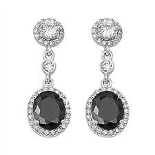 Black Cz Chandelier Drop  .925 Sterling Silver Earrings
