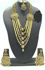 New Bollywood Indian Costume Jewellery Long Necklace Set Gold Bronze Stone Pearl