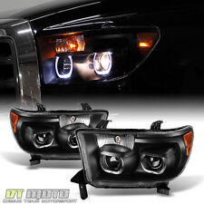 Black 07-13 Toyota Tundra 08-17 Sequoia Quad LED Halo Projector Headlights Lamps