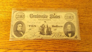 1861 CONFEDERATE STATES OF AMERICA $10 UNISSUED.  MB/DXCS