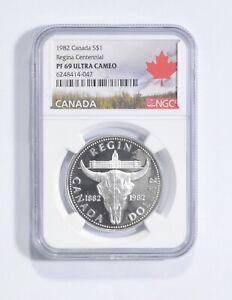 PF69 UCAM 1982 Canada $1 Silver - Regina Centennial - Graded NGC *035