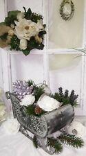Dekoschlitten Weihnachtsschlitten Schlitten grün Metall Shabby Chic Vintage 30cm