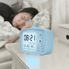 Tv Style Silicone Digital Bedrooms Alarm Clock Temp Date Time Display Hg - Blue