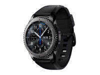 Samsung Galaxy Gear S3 Frontier 46mm - Stainless Steel Case Black Sport Band.