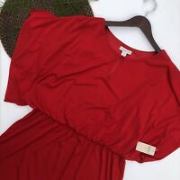 NWT Coldwater Creek Womens Dress Solid Red Matte Jersey Knit Blouson Size 16