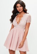 39743e0e5788 Missguided Lace Plunge Front & Back Skater Dress Size 10 UK Pink