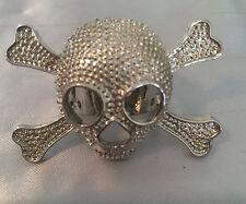 Skull And Crossbone Halloween Ring Silver Tone Adjustable Unisex