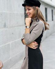 Mini Vestido Zara Patchwork Con Botones De Hombro Tamaño Medio Bnwt