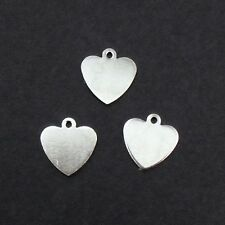 25 x Small Platinum Silver-Tone Blank Heart Stamping Tags / Charms Plated Brass