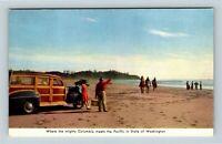 Chrome View of Columbia Meets The Pacific, Car, Washington State, Postcard X19