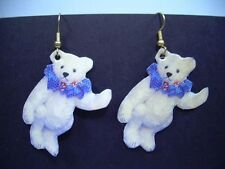 CHARMING Teddy Bear Earrings ^ ROOSEVELT BEAR CO 1993 Cloth + Paper on earwire