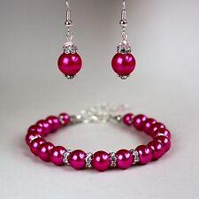 Fuchsia pink pearls crystal earrings chunky bracelet wedding bridal silver set