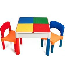 Kids Table & Chairs 2 in 1 w/storage Set Compatible w/ Leg Dupl Building Bricks