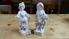 """Pair of Vintage Continental China Spill Vases Girl/Boy 1 a/f 6.25"""" high"""