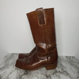 Vintage Mens Frye Leather Tall Campus Boots 8.5 D Black Label US 70s Square Toe