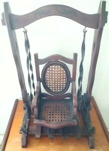 """antique/vintage wooden dolls/bear swing chair  20""""tall and 13"""" wide."""