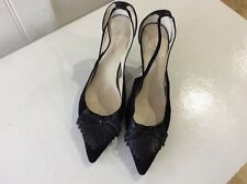 Nine West black suede slingbacks size 8w/uk 6 with bow
