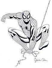 SPIDER-MAN ORIGINAL COMIC ART BLACK INK SKETCH 2 BY COMIC ARTIST JAMES CHEN
