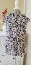 COVINGTON Button Front Ruffled Lightweight Chiffon Abstract Print Blouse Sz. MP