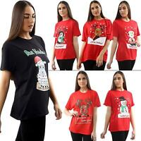 Women's Christmas T Shirt Ladies Xmax Snowman Reindeer Short Sleeve Tunic Tops