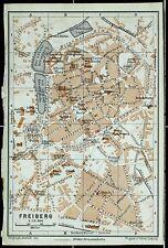 FREIBERG, alter farbiger Stadtplan, gedruckt um 1900
