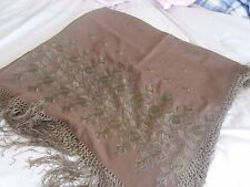 Pair Antique Wool & Silk Hand Embroidered Piano Shawl Throw Eastern European 56""