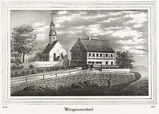 WEIGMANNSDORF (LICHTENBERG) - Kirche & Pfarrhaus - Lithografie 1838