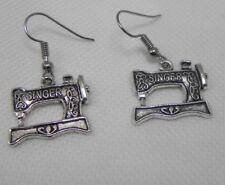 "Dangle 1 1/2"" Hook Earrings Singer Sewing Machine Silver Tone"