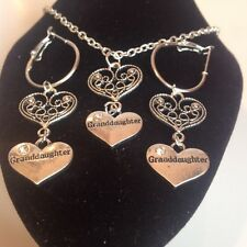 Granddaughter and heart necklace and matching hoop earrings silver plated