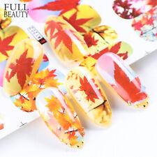 12 pcs Autumn Leaf Fall Water Foils Nail Art Yellow Maple Decals Nail Sticker-