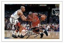 Michael Jordan & Charles Barkley autograph signed photo print Basket