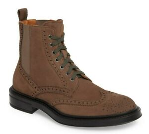 Aquatalia Lawrence Men's Weatherproof Suede Wingtip Lace Up Boots Taupe Size 9.5