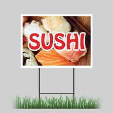 """18""""x24"""" Sushi Yard Sign Raw Seafood Cooked Rolled Concession Stand Sign"""