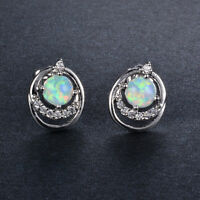 Sweet White Crystal Round Fire Opal Ear Stud Earrings White Gold Filled Jewelry