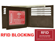 RFID Blocking Security Mens Bifold Card Id Credit Flap Leather Wallet Brown