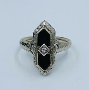 Art Deco 14k White With Onyx And Diamond Ring