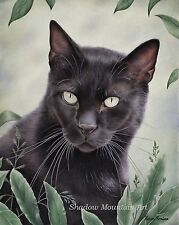 black cat 8 x 10 art print reproduction of painting color signed free ship KR