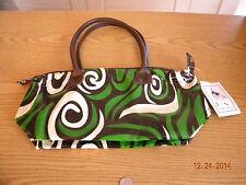 Isabella's Journey Suffolk Handbag Purse - NWT Green, Brown & White Pattern