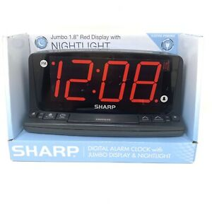Sharp LED Alarm Clock with Nightlight and Jumbo Red Display Electric Powered NEW